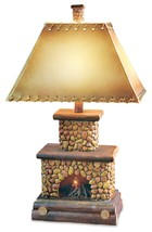 Stone Fireplace Table Lamp Flicker Flame Nightlight Rustic Cabin Lodge C... - $130.00