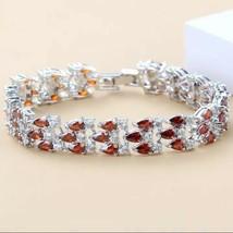 925 Sterling Silver Romantic Red Garnet Link Bracelet for Women [BRA-46] - $17.81