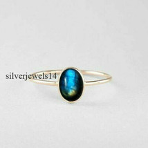 Labradorite Solid 925 Sterling Silver Band Ring Size 8 Handmade Jewelry ... - $9.83