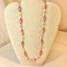 Handcrafted Beaded Necklace Light Pink & Silver Beads Spring Easter Jewelry NEW - $34.65