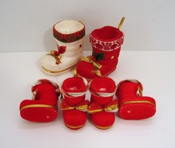 Vintage Lot of 6 Flocked Christmas Stocking Ornaments - $12.95