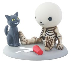 Little Skeleton Boy Lucky with Spilled Milk and Cat Décor Figurine - $19.77