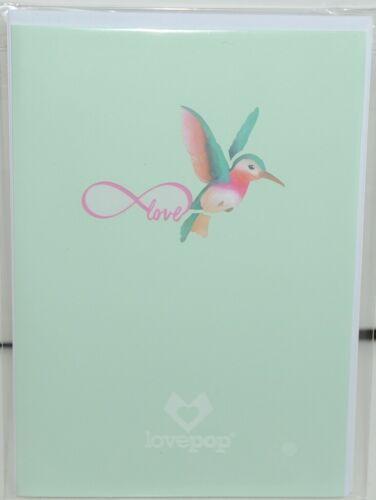 Lovepop LP2400 Lovely Hummingbird Pop Up Card White Envelope Cellophane Wrapped