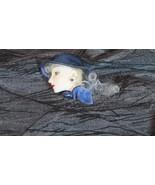Art Deco Woman Head Blue Hat & Scarf Brooch, Platinum Hair Lady, Handmade - $17.77