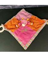 Mary Meyer Baby Giraffe Security Blanket Lovey Pink Crinkle Rings Teethe... - $10.40