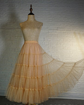 Gold Apricot Floor Length Tulle Skirt Sparkle Long Tiered Tulle Holiday Outfit image 2