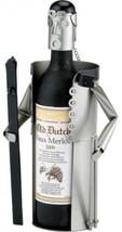 Old Dutch Metal Skier Wine Bottle Holder Buddy - $88.06
