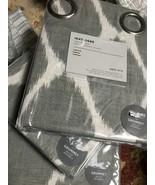 West Elm Set 2 Ikat Ogee Drape Platinum Gray 84L Curtain Grommet Pair Linen - $167.73