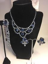 Vintage Blue Rhinestone Parure Necklace Bracelet Clip Earrings Silvertone - $57.95