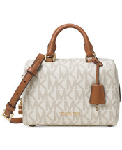 Michael Kors Kirby Mini Satchel Boston Crossbody Logo Signature Vanilla - $189.00