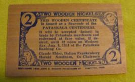 1951 Pataskala Ohio Centennial Celebration 2 Wooden Nickels Placard - $10.00