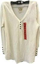 CHASER Ladies' Long Sleeve Waffle Thermal Tunic Sweater Top (Large, Foam) - $39.99