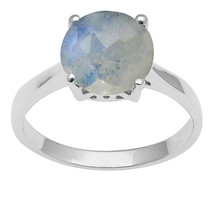 Rainbow Moonstone 925 Sterling Silver Solitaire Stackable Prong Set Wedd... - $20.99