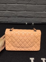 AUTHENTIC Chanel Pink Quilted Patent Leather Medium Double Flap Bag SHW image 2