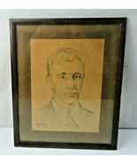 Original Pencil Drawing Gentleman Portrait by Gabriel Dahl Norwegian Artist - $30.00