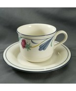 Lenox Poppies on Blue  Cup and Saucer Blue and Pink Floral 8 oz Chinastone - $9.90
