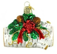 Hand crafted Yule Log Glass Blown Ornament for Christmas Tree Decoration... - $18.99
