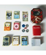 Pokemon Mixed Lot of 300 Cards Tin Sleeves Dice Flip Coins  - $37.39