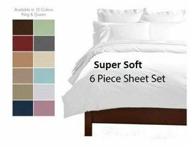 6 PIECE PREMIUM QUALITY DEEP POCKET BAMBOO LUXURY SERIES SOFT BED SHEET SET - $12.95+