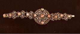 VINTAGE ART NOUVEAU OPEN FILIGREE BRACELET-BEAUTIFUL AGATE CABOCHON STONES - $89.10