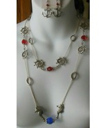 Vintage Silver-tone Chain Blue/Red Czech Glass Nautical Necklace & Earri... - $54.45
