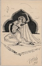 Original Pen and Ink Drawing Arabian Woman Seated on Carpet F Ohde 1921 ... - $14.85