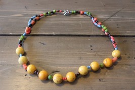 Handmade Yellow Jasper Pink Coral Choker Necklace - $15.58
