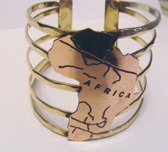 Solid Brass Banded 2-1/4 Inches Rose Gold Continent Of Africa Bracelet Ethnic - $16.82