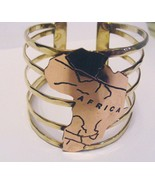 SOLID BRASS BANDED  2-1/4 INCHES ROSE GOLD CONTINENT OF AFRICA BRACELET ... - $16.82