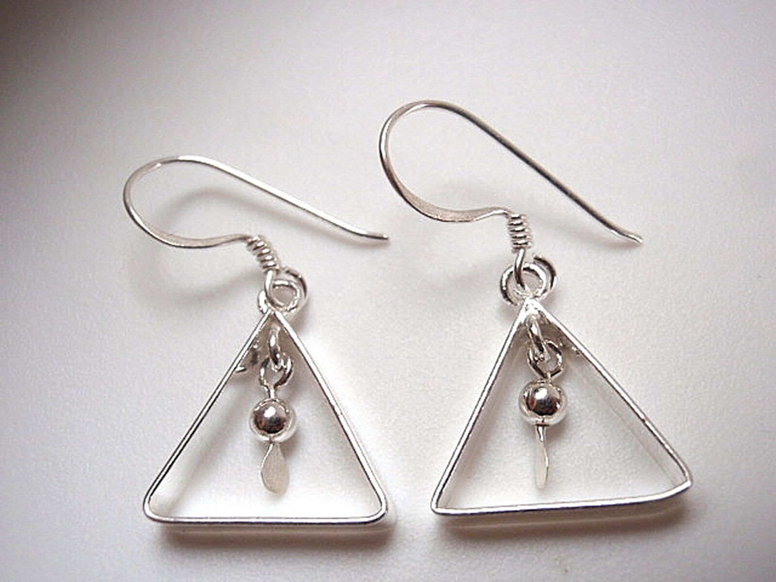 Primary image for Triangle w/ Hanging Ball Dangle Earrings 925 Sterling Silver Corona Sun Jewelry