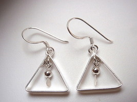 Triangle w/ Hanging Ball Dangle Earrings 925 Sterling Silver Corona Sun ... - $12.86