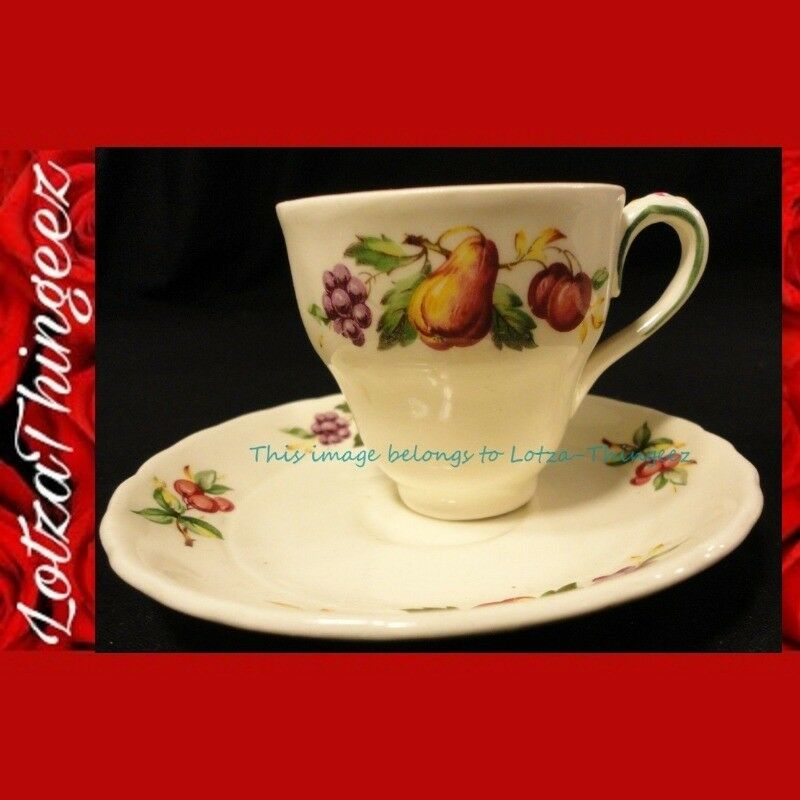EUC Grindley England Rare Vtg Tea/Espresso Cups Saucer Set of 8 pc Fruit #65