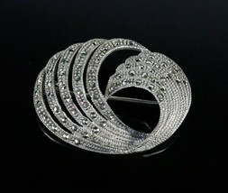 Vintage .925 Sterling Silver Signed AK Marcasite Swirl Design Brooch Pin... - $32.88