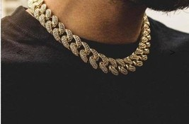 10.32CT NATURAL DIAMOND 14K SOLID YELLOWGOLD CUBAN CURB LINK MEN CHAIN N... - $14,211.16