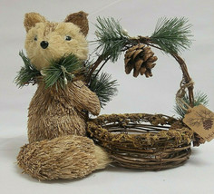 "White Pine Sisal Fox with Basket 11"" x 9"" x 7"" approx - $14.00"