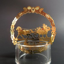 Vintage Sleigh Ride Christmas Ornament Hallmark Gold Metal Etched Emboss... - $26.99
