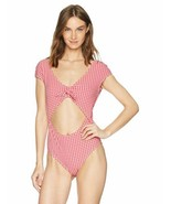 Jessica Simpson Women's Retro Bow Cap Sleeve One-Piece Swimsuit (Gingham... - $42.90