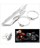 "Chrome 9"" Flame Exhaust Muffler Pipe Heat Shield Cover Heel Guard Cafe R... - $12.86"