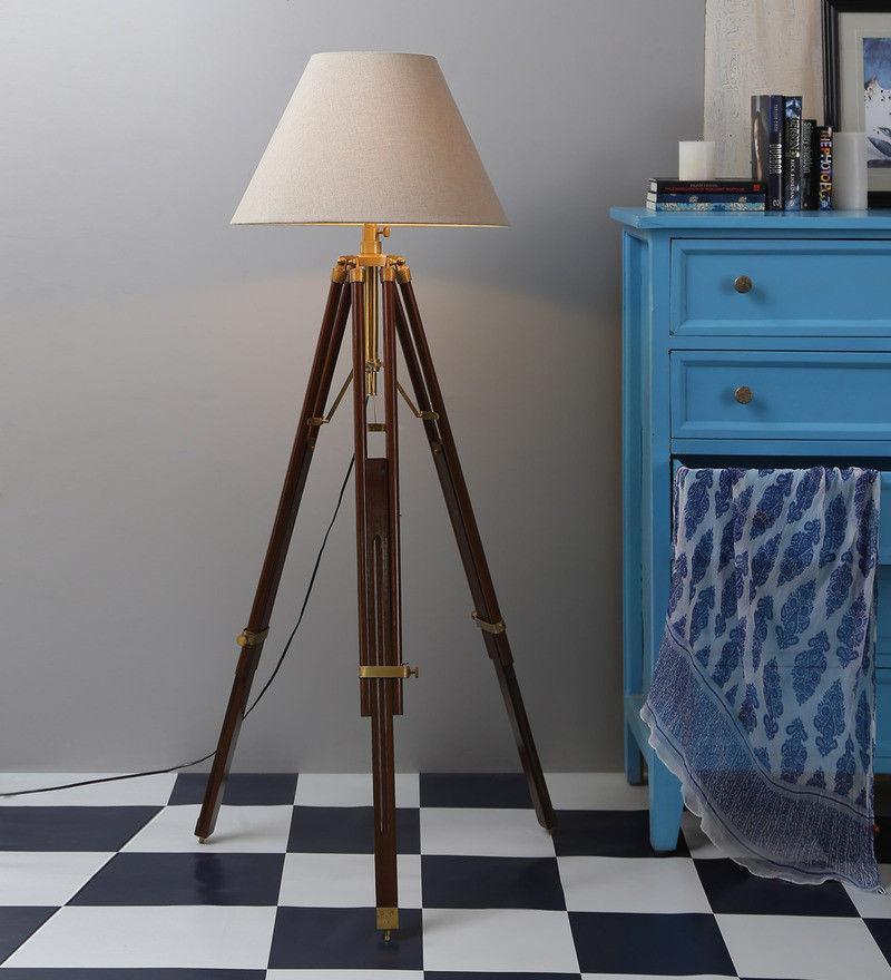 Vintage Floor Standing Mango Wood Beige Color Tripod Floor Lamp - $184.29