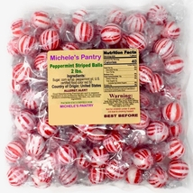 Striped Peppermint Ball Mints Hard candy bulk wrapped candy 2 Lbs.  - $14.00
