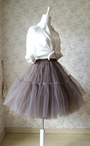 Lady MESH TULLE SKIRT Knee Length Layer Tulle Skirt Princess Skirt Crinolines  image 3