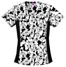 Minnie Mouse Cherokee Tooniform Disney V Neck Knit Panel Scrub Top 6875C MKMK - $23.97+