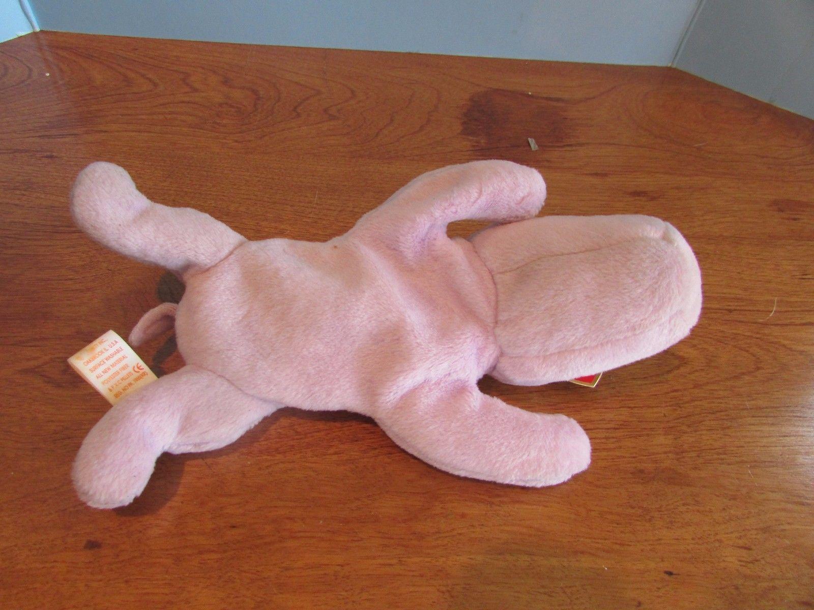 """TY Beanie Babies Baby plush PURPLE HIPPO """"HAPPY""""  w/Tag"""