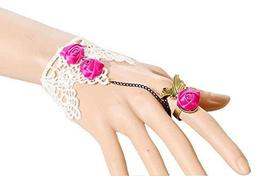 Complex Gulei Si Crystal Gemstone Bracelet Ring Jewelry, Pink Roses