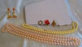 Vintage lot of jewelry Christmas earrings faux pearl earrings and necklaces - $18.00