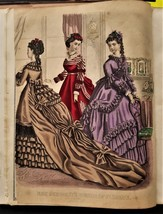 1870 antique DEMORESTS Bound w 12 colored FASHION PLATES fraktur CHIDSEY... - $124.95