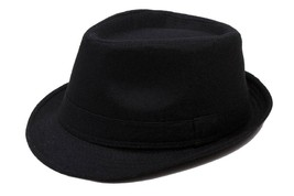 Angela & William Original Unisex Structured Wool Blend Fedora Hat Black ... - $19.79