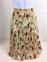 Vintage Ballinger Gold Accordion Pleated Skirt, Cream with Floral Patter... - $18.66