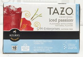 Tazo Sweetened Iced Passion Brew Over Ice Herbal Tea Keurig K Cup Cups 1... - $11.87