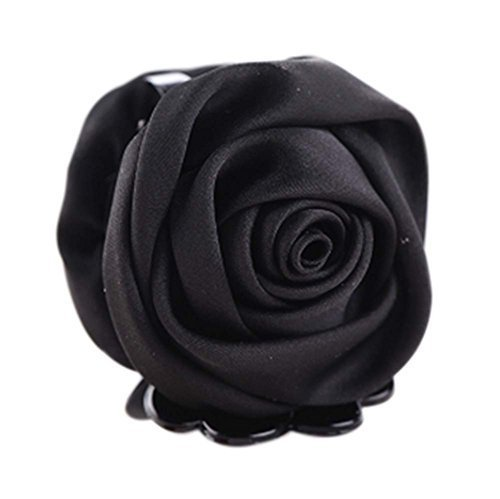 A Beautiful Rose Flower Hair Clips Headwear Ponytail Clip, Black